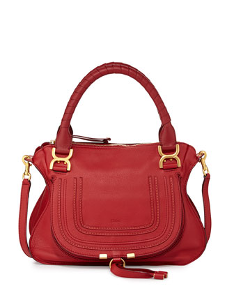 Marcie Small Satchel Bag, Cherry