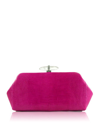 Whitman Lizard Clutch Bag, Silver/Fuchsia