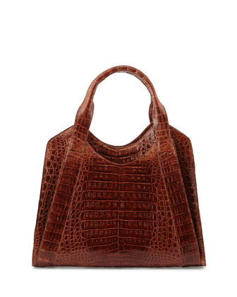 Crocodile Small Satchel Bag, Cognac