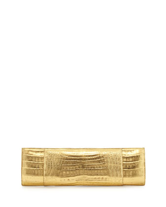 Slicer Slim Metallic Crocodile Clutch Bag, Gold