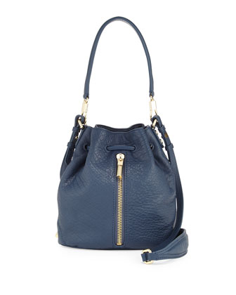 Cynnie Mini Bucket Lambskin Bag, Yachting Blue