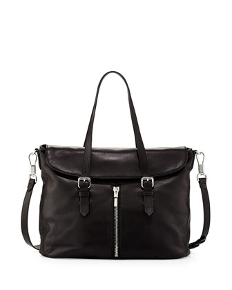 James Leather Satchel Bag, Black