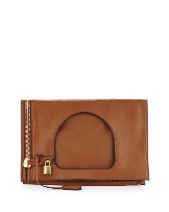 Alix Small Padlock & Zip Shoulder Bag, Caramel