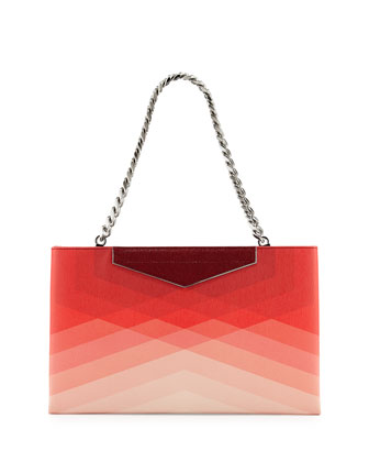 Small Framed Leather Clutch Bag, Red/Pale Pink