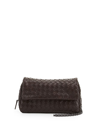 Woven Mini Crossbody Bag, Dark Brown