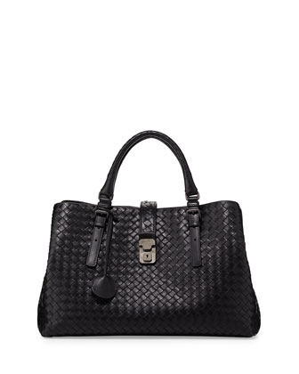 Roma Woven Compartment Tote Bag, Nero