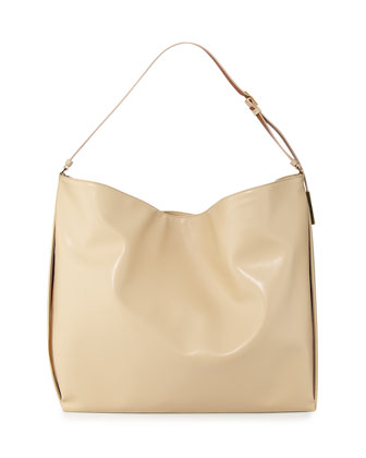 Faux-Napa Big Shoulder Bag, Champagne
