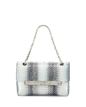 Zahara Snake & Sequin Flap Shoulder Bag, Gray