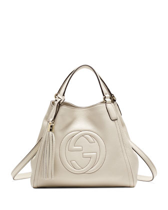 Soho Leather Shoulder Bag, Mystic White