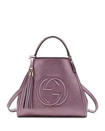 Soho Leather Shoulder Bag, Metallic Purple