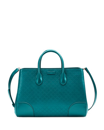 Diamante Leather Top Handle Bag, Cobalt Turquoise
