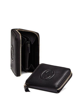 Soho Mini Zip Around Wallet, Nero