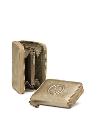 Soho Mini Zip Around Wallet, Gold Beige