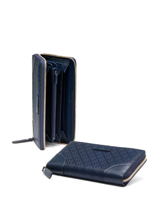 Diamante Leather Zip Around Wallet, Marine Navy