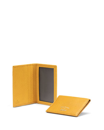 Leather Flap ID Case, Bumble Yellow