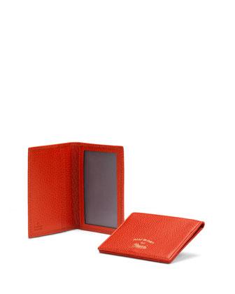 Leather Flap ID Case, Dark Orange
