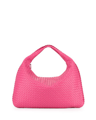 Woven Leather Sac Hobo Bag, Fuchsia