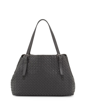 A-Shape Woven Tote Bag, Dark Gray