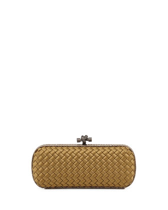 Satin-Snakeskin Stretch Knot Minaudiere, New Bronze