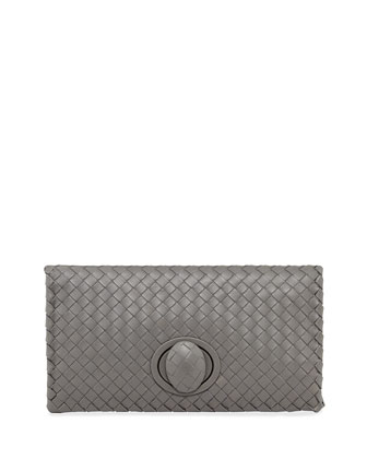 Full-Flap Turn-Lock Clutch Bag, New Light Gray