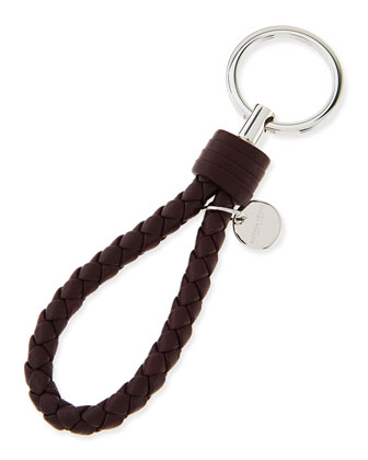 Braided Loop Key Ring, Aubergine/Bordeaux