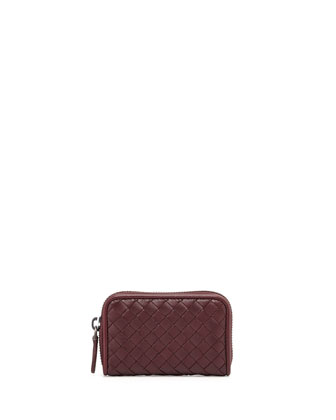 Mini Zip-Around Wallet, Dark Bordeaux
