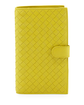 Woven Continental Wallet, Chartreuse Yellow