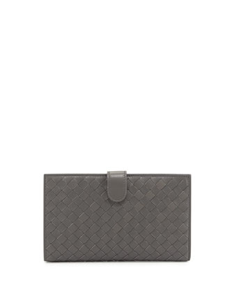 Woven Continental Wallet, New Light Gray