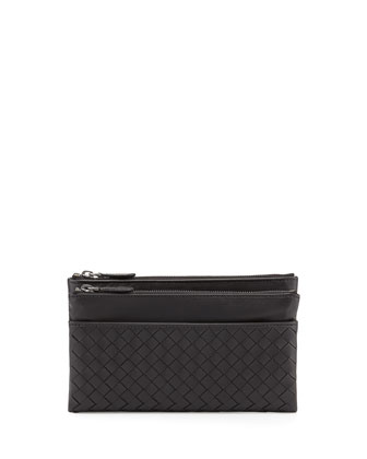 Woven Leather Bifold Wallet, Nero Black