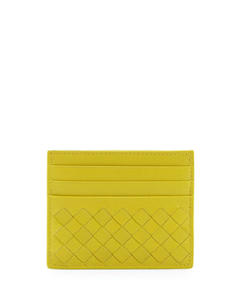 Woven Leather Credit Card Sleeve, Chartreuse