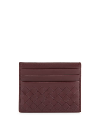 Woven Leather Credit Card Sleeve, Dark Bordeaux