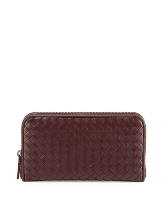 Continental Zip-Around Wallet, Aubergine Dark Bordeaux