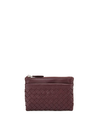 Zip-Top Woven Leather Key Pouch, Aubergine Bordeaux