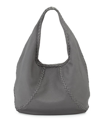 Cervo Medium Open-Shoulder Hobo Bag, New Light Gray