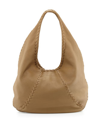 Cervo Medium Open-Shoulder Hobo Bag, Mushroom