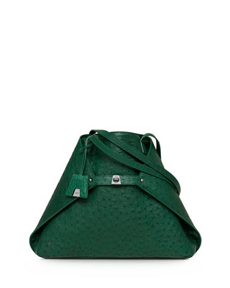 Ai Ostrich Medium Shoulder Tote Bag, Aloe