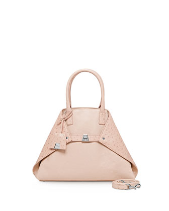 Ai Small Cervo & Ostrich Messenger Bag, Rose
