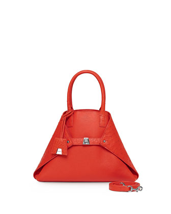 Ai Small Cervo & Ostrich Messenger Bag, Tangerine