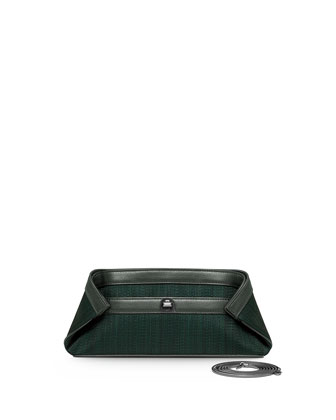 Ai Small Woven Clutch Bag, Dark Green