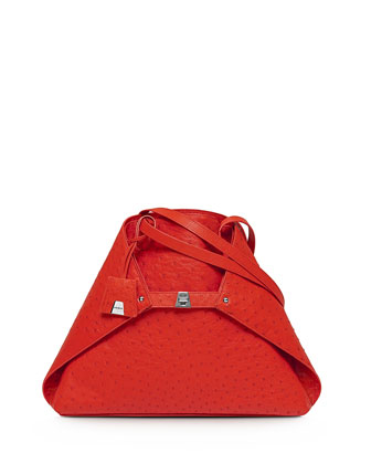 Ai Ostrich Medium Shoulder Tote Bag, Tangerine