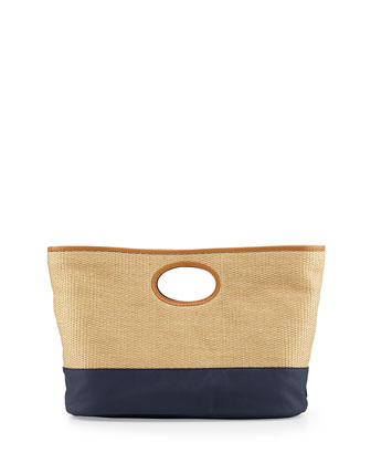 Lydia Woven Straw & Canvas Tote Bag, Natural