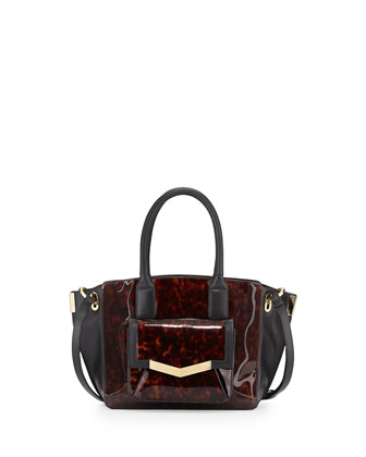 Jo Tortoise-Print Patent Leather Mini Tote Bag