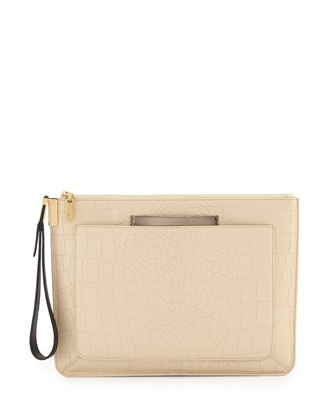 Ishi Croc-Embossed Large Wristlet Clutch Bag, Ecru