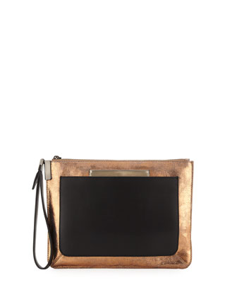 Ishi Metallic Leather Small Wristlet Bag, Champagne
