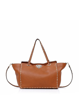 Rockstud Medium Tote Bag, Light Cuir