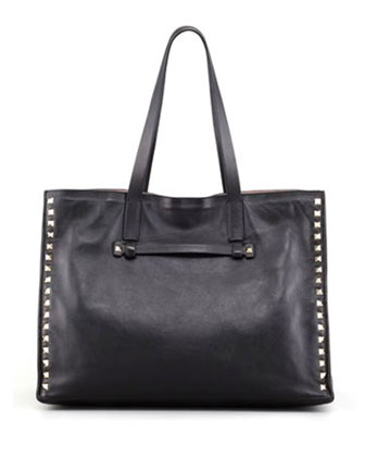 Rockstud Shopping Tote Bag, Black/Poudre