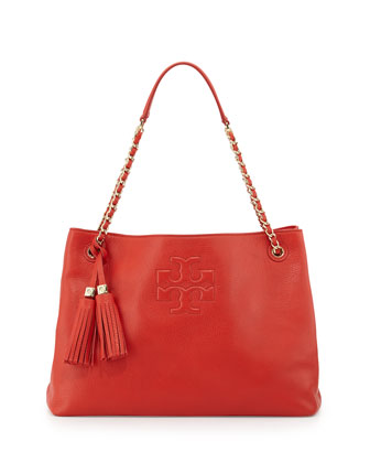 Thea Slouchy Chain-Strap Tote Bag, Jasper Red