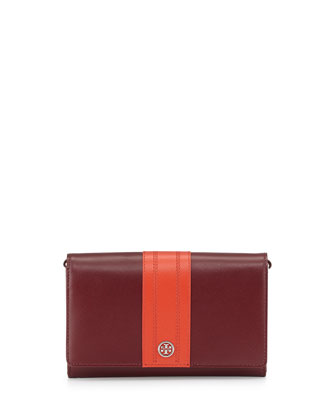 Robinson Stripe Wallet-on-a-Chain, Dark Plum