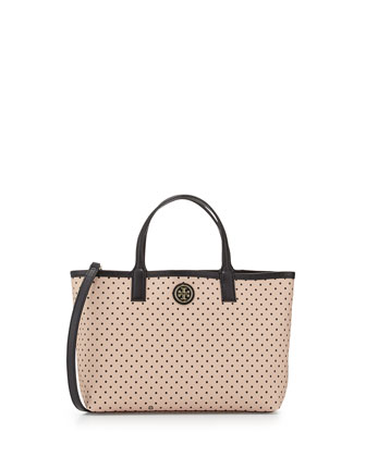 Kerrington Polka-Dot Crossbody Tote Bag, Blush/Black