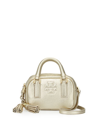 Thea Metallic Pebbled Leather Mini Satchel Bag, Light Gold